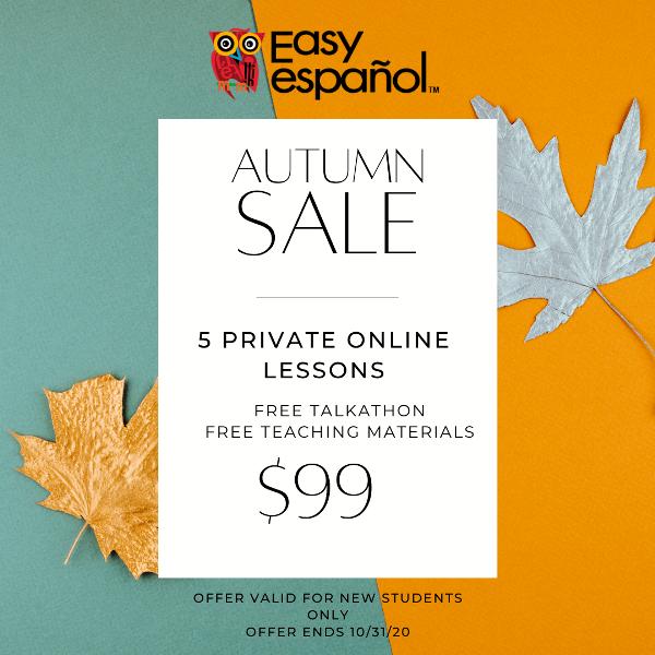 Fall Sale: 5 Online Spanish Classes per $99 - Easy Español