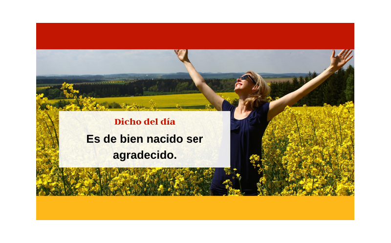 Saying of the day: Es de bien nacido ser agradecido - Easy Español